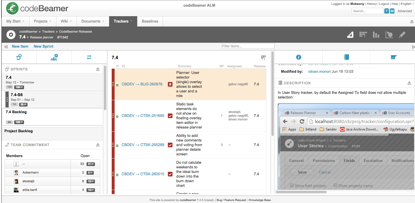 codeBeamer ALM Release Planner with sprint tree screenshot