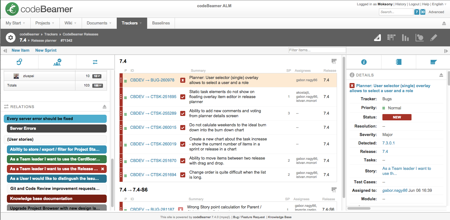 The project planner with tasks filtered according to user stories